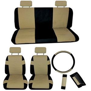 Faux PU Leather Car Seat Covers 11 Piece Set Superior Tan Black Bucket