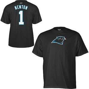 Carolina Panthers Cam Newton 1 Reebok Black Jersey T Shirt Sz XXL 2XL