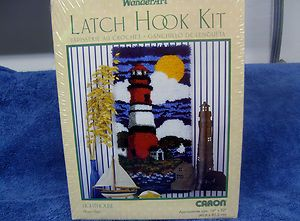 WONDERART LATCH HOOK KIT LIGHTHOUSE CARON 16X32 ART 4122 FACTORY