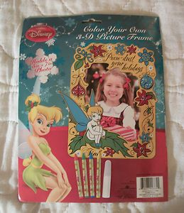 Disney Tinkerbell Fairy Color Your Own 3 D Picture Frame Holds a 5x7