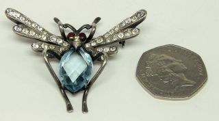 Outstanding Large Antique Victorian Sterling Silver Gem Set Insect