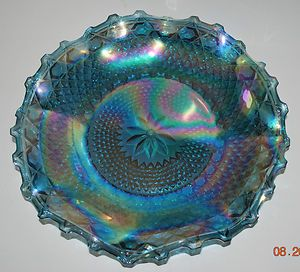 Indiana Glass Blue Iridescent Carnival Glass Hostess Plate Bowl
