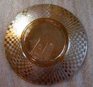 Checkerboard Marigold Carnival Glass Plate by Hazel Atlas