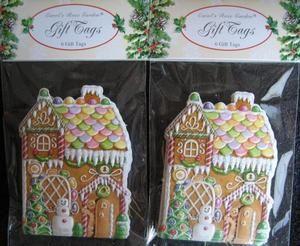 SET OF 12 CHRISTMAS CAROL WILSON FINE ARTS GIFT NAME TAGS GINGERBREAD