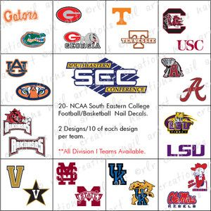 College Teams Water Slide Nail Decals Sec Conf Nail Decals