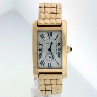 cartier american tank 18k yellow gold unisex watch cartier american