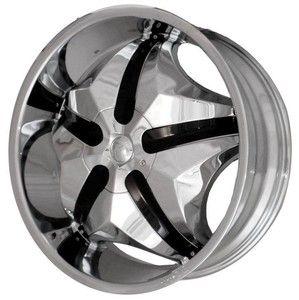 Chrome Wheels Free Black Inserts Rims Tires Pkg 6x135 SUV Truck