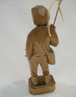 Old stock. Quebec carver signed Caron   Old man with fishing rod