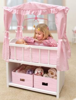 Kids Baby Doll Crib Canopy Baskets Bedding Mobile Bed Pretend Play Toy
