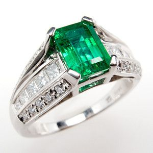 Carat Natural Emerald & Genuine Diamond Engagement Ring Solid 14K