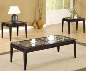 New 3pc Carpio Glass Walnut Wood Coffee End Table Set
