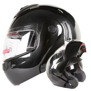 CARBON FIBER LOOK DUAL VISOR MODULAR MOTORCYCLE HELMET DOT Size L