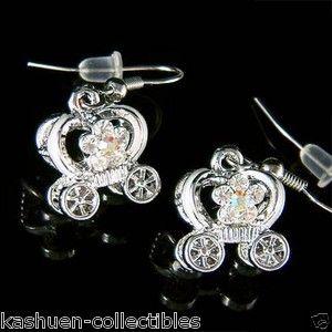 Bridal 3D Cinderella Pumpkin Carriage Flower Fairy Earrings