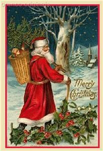 father christmas santa claus antique card counted cross stitch chart