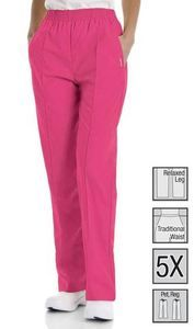 New Landau 8320 Pacp Carnation Pink Creased Front Womens Scrub Pant s