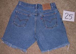 Levis Cut Off Broken in Denim Blue Jean Shorts 9 30 Leather Patch Hot