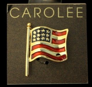 Carolee Enamel American Flag Pin Brooch Gold Tone Patriotic