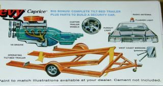Caprice with Car Trailer Model Kit Vintage Style MPC Chevy Caprice 70