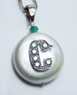 High Quality Diamond Initial C Pearl Emerald 14k White Gold Pendant
