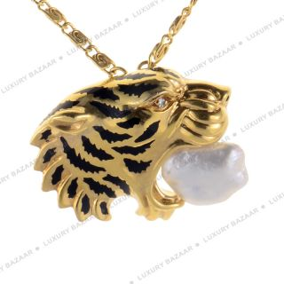 Carrera Y Carrera 18K Yellow Gold and Pearl Tiger Necklace