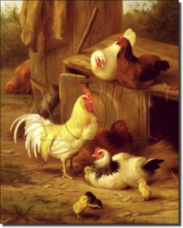 Hughes Country Life Roosters Art Ceramic Accent Tile
