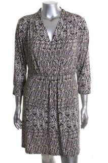 Black Ivory Printed V Neck 3 4 Sleeve Casual Dress XL BHFO