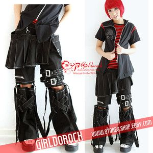 FreeShip Punk Visual Kei Black Stub Slim Zip Up K031 Skirt Cover Pants