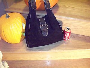 Carla Mancini Black Suede Hobo Tote Shoulder Bag Leather Straps Made