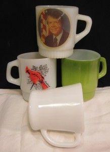 King Mugs Green Milk White D Handle President Jimmy Carter HTF