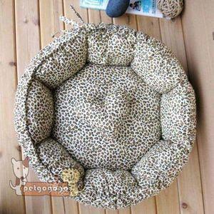 Soft Pet Dog Cat Bed House Doghole Kennel Cotton s Cute Leopard Line