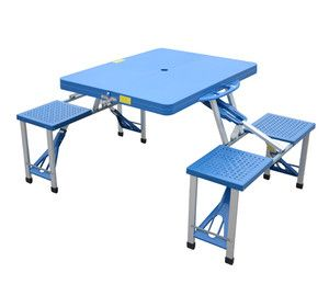 New Outdoor Blue Picnic Table Portable Folding Camping With Case Seats