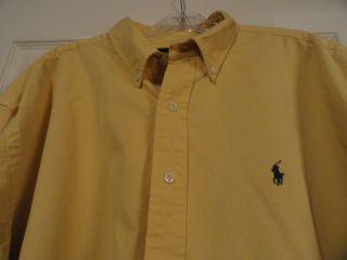 Ralph Lauren Long Sleeve Button Front Blake Yellow Shirt Size XL
