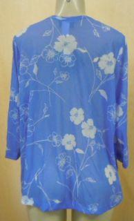 Carolyn Strauss Ladies Sheer Blue Cover Up Top Petite Large N w Tags