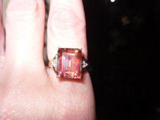 10K Custom Made Emerald Cut RARE Caribbean Topaz Diamond Ring