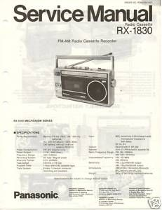 Original Service Manual Panasonic RX 1830 Radio Cass