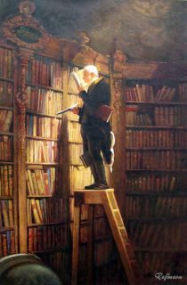 Handmade Oil Painting Repro Carl Spitzweg Bookworm