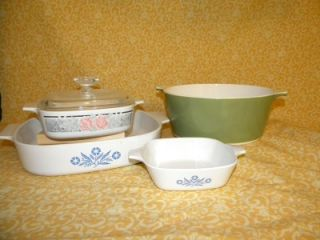 of Vintage Corning Ware Cornflower Blue Olive Green Casseroles