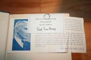 Carl Sandburg Abraham Lincoln Civil War Signed Book