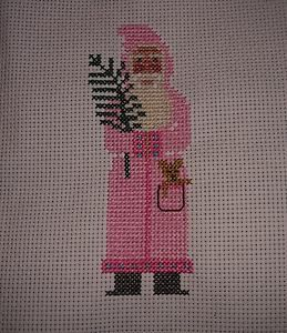 Pink Father Christmas ~ Prairie Schooler ~ Completed Cross Stitch (1