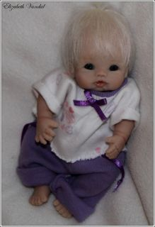 Mini OOAK Original Hand Sculpt Baby Girl 5 in Clay Art Doll by