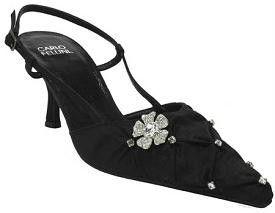 New Carlo Fellini Verona Black Satin Slingback Heel Wedding Women