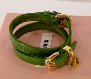 MIU MIU by PRADA BRACELET leather wristlet braclet DOUBLE WRAP ~ HEART