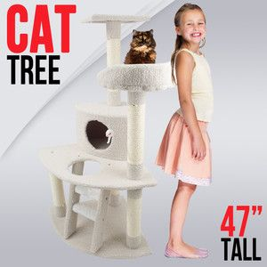Cat Tree 47 Kitten Condo Furniture Scratching Post Pet House Cream