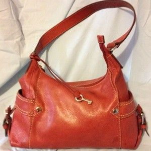 Fossil Castille Large Hobo Bag in Red Leather