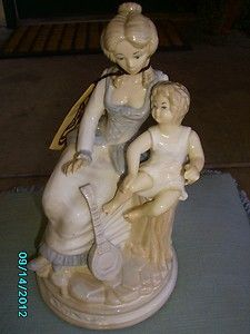 Castille Porcelain Figurine w Box Mother and Son Made in Spain 10 1 2