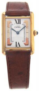 Cartier Vermeil Must de Tank Ladies Brown Strap Watch