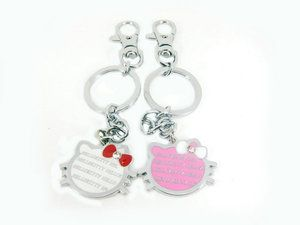 Pair Cartoon characters Two Hello Kitty Heads Metal key Chain Cute