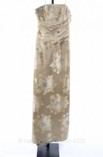 Carmen Marc Valvo M 8 10 Strapless Pleated Floral Dress Beige Gown