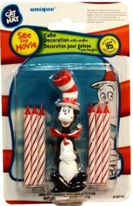 New Dr Seuss Cat in The Hat Birthday Party Cake Topper and 6 Candles