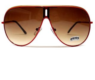 VTG TURBO AVIATOR METAL SUNGLASSES MEN WOMEN RED /GOLD LINE W BROWN